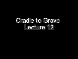 Cradle to Grave Lecture 12