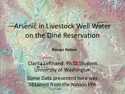 Arsenic in Livestock Well Water on