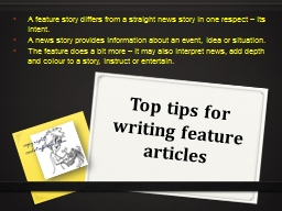 Top tips for writing feature articles