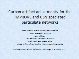 Carbon artifact adjustments for the IMPROVE and CSN PowerPoint PPT Presentation