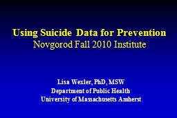 Using Suicide Data for Prevention