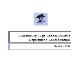 Shrewsbury High School Athletic Department Consideration