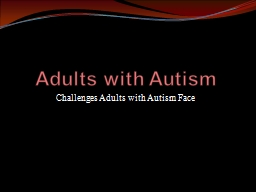 Adults with Autism PowerPoint PPT Presentation