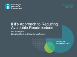 IHI's Approach to Reducing PowerPoint PPT Presentation