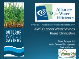 AWE Outdoor Water Savings PowerPoint PPT Presentation