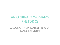 AN ORDINARY WOMAN'S RHETORICS