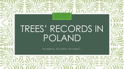 TREES' RECORDS in poland
