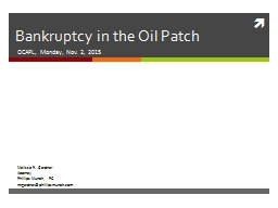 Bankruptcy in the Oil Patch
