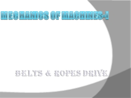Mechanics of Machines-I