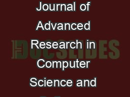 IJARCSSE All Rights Reserved Page   Volume  Issue  June  ISSN  X International Journal of Advanced Research in Computer Science and Software Engineering Research Paper Available online at www