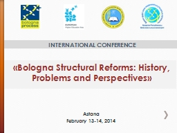 «Bologna Structural Reforms: History, Problems and Perspec