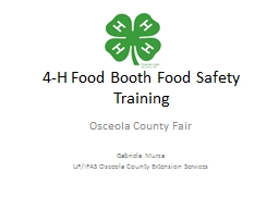 4-H Food Booth Food Safety Training PowerPoint PPT Presentation