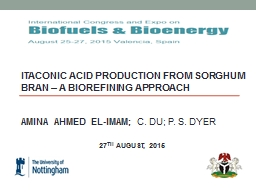 ITACONIC ACID PRODUCTION FROM SORGHUM BRAN – A BIOREFININ