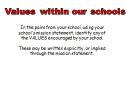 Values within our schools