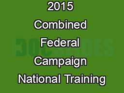 2015 Combined Federal Campaign National Training