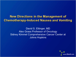 New Directions in the Management of Chemotherapy-Induced Na