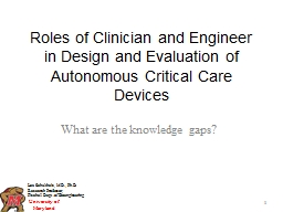 Roles of Clinician and Engineer in