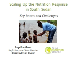 Scaling Up the Nutrition Response              in South Sud