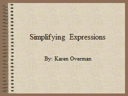 Simplifying Expressions PowerPoint PPT Presentation