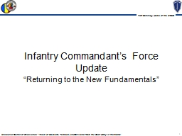 Infantry Commandant's Force Update