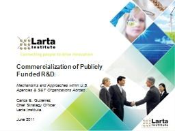 Commercialization of Publicly Funded R&D