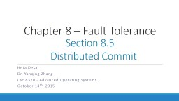 Chapter 8 – Fault Tolerance
