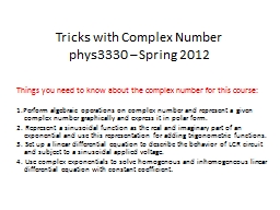 Tricks with Complex Number PowerPoint PPT Presentation
