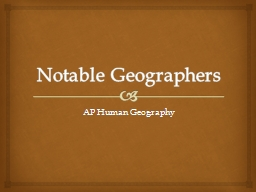 Notable Geographers