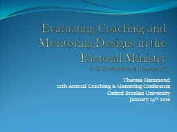 Evaluating Coaching and Mentoring Designs in the Pastoral M