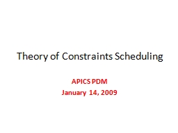 Theory of Constraints Scheduling PowerPoint PPT Presentation