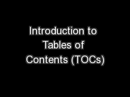 Introduction to Tables of Contents (TOCs)