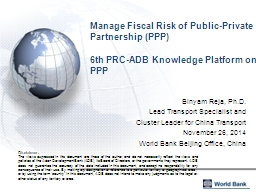 Manage Fiscal Risk of Public-Private Partnership (PPP)