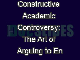 Constructive Academic Controversy: The Art of Arguing to En