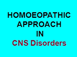 HOMOEOPATHIC APPROACH