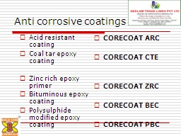 Anti corrosive coatings