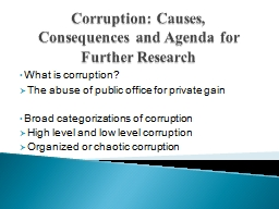Corruption: Causes, Consequences and Agenda for Further Res