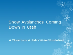 Snow Avalanches Coming Down in Utah
