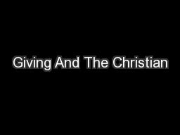 Giving And The Christian