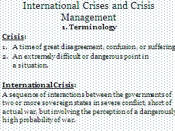 International Crises and Crisis Management