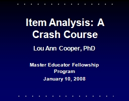 Item Analysis: A Crash Course