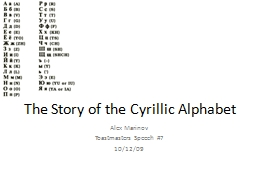 The Story of the Cyrillic Alphabet PowerPoint PPT Presentation