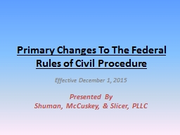 Primary Changes To The Federal Rules of Civil Procedure