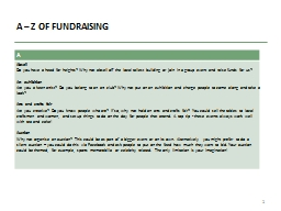 A – Z OF FUNDRAISING