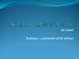 Air Law – Rules of the Air