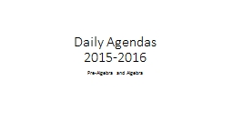 Daily Agendas PowerPoint PPT Presentation