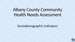 Albany County Community Health Needs Assessment
