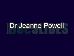 Dr Jeanne Powell