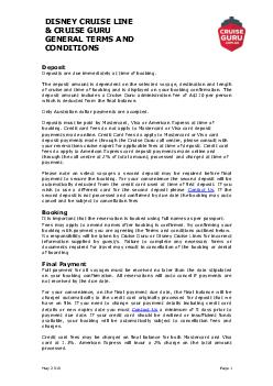 Disney cruise line and cruise guru general terms and conditions