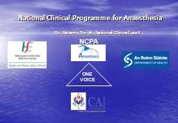 National Clinical Programme for Anaesthesia