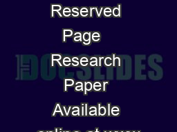 IJARCSSE All Rights Reserved Page   Research Paper Available online at www